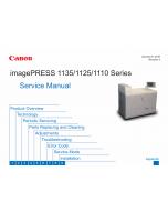 CANON imagePRESS 1110 1125 1135 Service Manual PDF download