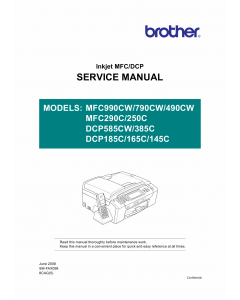 Brother Inkjet-MFC 250 290 490 790 990 C CW DCP145 165 185 285 585 C-CW Service Manual