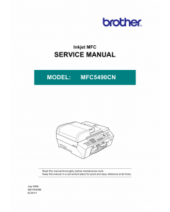 Brother Inkjet-MFC 5490CN Service Manual and Parts