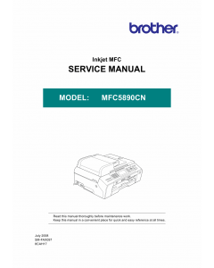 Brother Inkjet-MFC 5890CN Service Manual and Parts