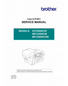 Brother Inkjet-MFC 6490CW 6890CWD Service Manual and Parts