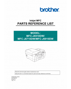 Brother Inkjet-MFC J6510 J6710 J6910 DW Parts Manual