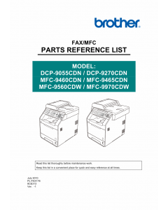 Brother Laser-MFC 9460 9465 9560 9970 CDN DCP9055 9270 CDN Parts Reference
