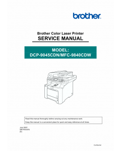 Brother Laser-MFC 9840CDW DCP9045CDN Service Manual