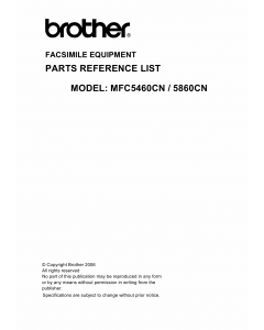 Brother MFC 5460CN 5860CN Parts Reference