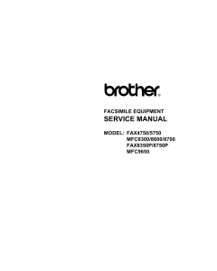 Brother MFC 8300 8600 8700 9650 FAX4750 5750 8350P 8750P Service Manual and Parts