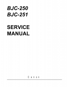 Canon BubbleJet BJC-250 251 Service Manual