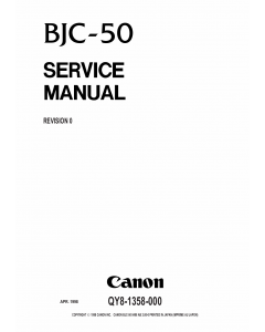 Canon BubbleJet BJC-50 Service Manual