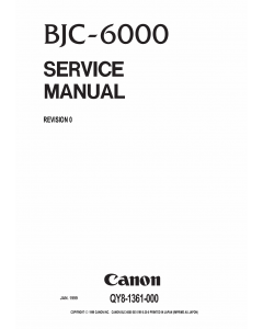 Canon BubbleJet BJC-6000 Service Manual