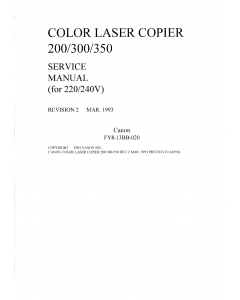Canon ColorLaserCopier CLC-200 300 350 Parts and Service Manual