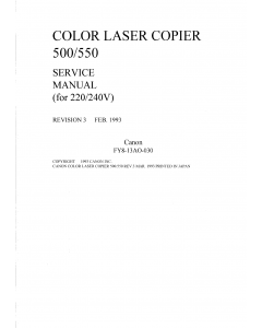 Canon ColorLaserCopier CLC-500 550 Parts and Service Manual