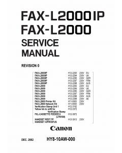 Canon FAX L2000 L2000IP Parts and Service Manual