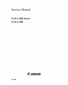 Canon FAX L380 Parts and Service Manual