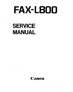 Canon FAX L800 Parts and Service Manual