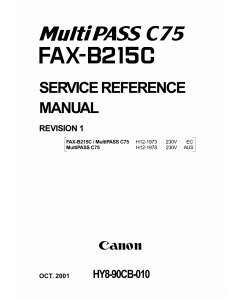 Canon MultiPASS MP-C75 FAX-B215C Parts and Service Manual
