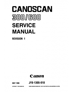 Canon Options CS-300 CanoScan 300 600 Parts and Service Manual