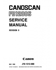 Canon Options CS-FB1200S CanoScan FB1200S Parts and Service Manual