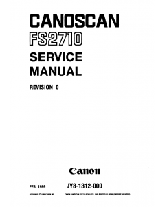 Canon Options CS-FS2710 CanoScan FS2710 Parts and Service Manual