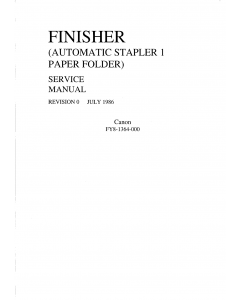 Canon Options Finisher-1 Automatic-Stapler1-Paper-Folder Parts and Service Manual