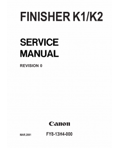 Canon Options Finisher-K1 K2 Parts and Service Manual