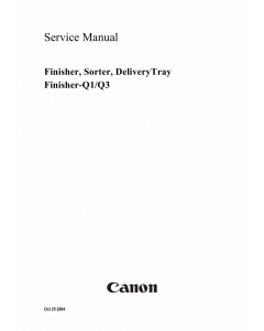 Canon Options Finisher-Q3 Q1 Sorter DeliveryTray Puncher Service Manual