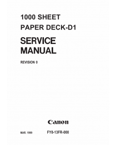 Canon Options Sheet1000 Paper-Deck D1 Parts and Service Manual