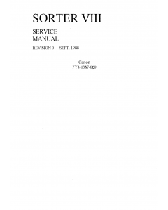 Canon Options Sorter-VIII Parts and Service Manual