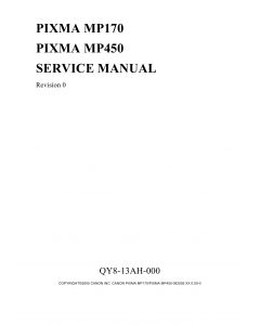 Canon PIXMA MP170 MP450 Service Manual