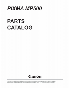 Canon PIXMA MP500 Parts Catalog Manual