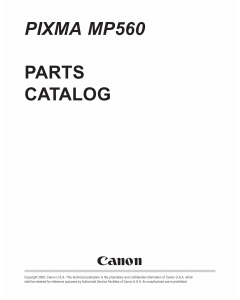 Canon PIXMA MP560 Parts Catalog Manual