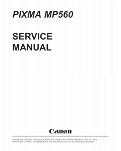 Canon PIXMA MP560 Service Manual