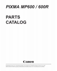 Canon PIXMA MP600 MP600R Parts Catalog Manual