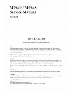 Canon PIXMA MP640 MP648 Service Manual