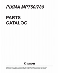 Canon PIXMA MP780 MP750 Parts Catalog Manual