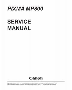 Canon PIXMA MP800 Service Manual