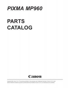 Canon PIXMA MP960 Parts Catalog