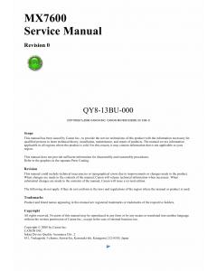 Canon PIXMA MX7600 Service Manual