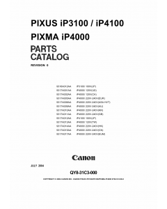 Canon PIXMA iP3100 4100 Parts Catalog Manual
