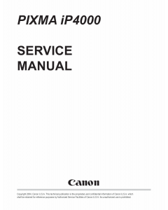 Canon PIXMA iP4000 Service Manual