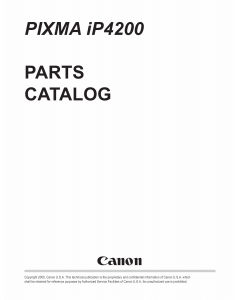 Canon PIXMA iP4200 Parts Catalog