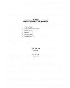 Canon PIXMA iP4500 Simplified Service Manual