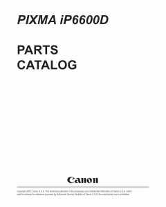Canon PIXMA iP6600D Parts Catalog