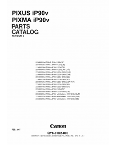 Canon PIXMA iP90v Parts Catalog Manual