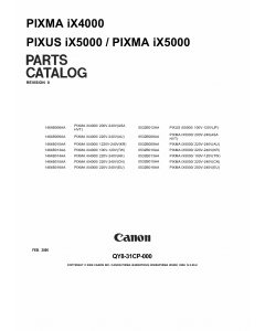 Canon PIXMA iX4000 iX5000 Parts Catalog Manual