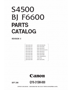 Canon PIXUS S4500 Parts Catalog Manual