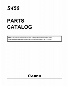 Canon PIXUS S450 Parts Catalog Manual