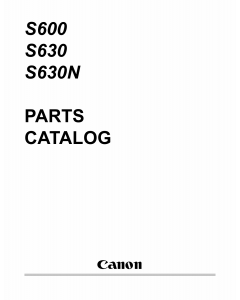 Canon PIXUS S600 S630 S630N Parts Catalog Manual