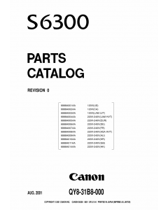 Canon PIXUS S6300 Parts Catalog Manual