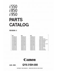 Canon PIXUS i550 i850 i950 Parts Catalog Manual