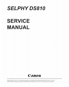 Canon SELPHY DS810 Service and Parts Manual